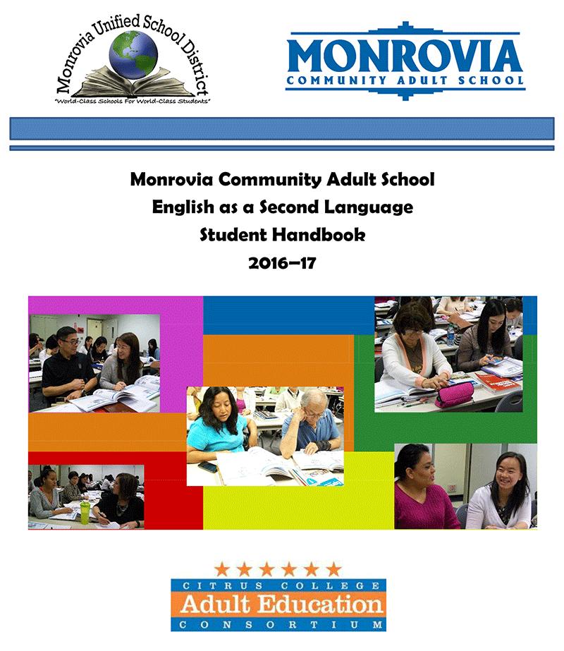 Image of Monrovia Adult School Handbook 2016-17