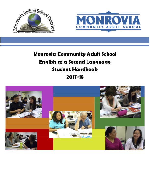 Image of Monrovia Adult School Handbook 2017-18